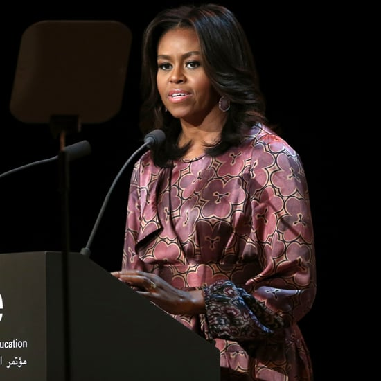 Michelle Obama Wearing a Floral Silk Robe