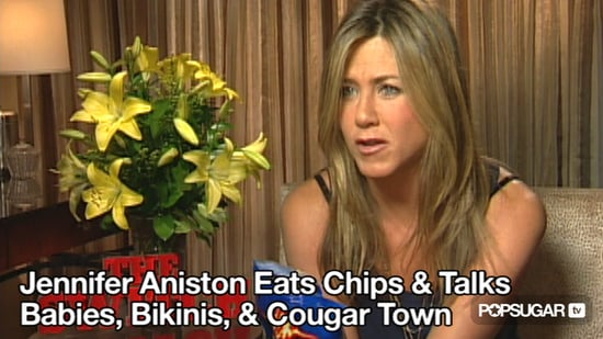 Video of Jennifer Aniston Talking About Puppies, Babies, Bikinis, Cougar Town, and More