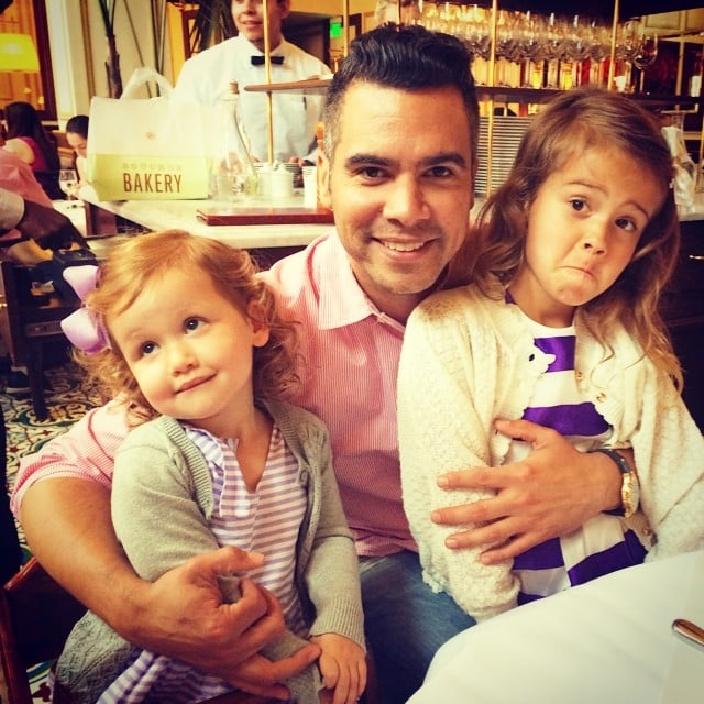 """Cash Warren couldn't quite get a smile out of his girls on Father's Day, but that didn't bother him. He wrote, """"Just smile in one pic with dad...please. Today is like my second birthday...please. Ok forget it...apparently you don't want dessert. Lol #DadLifeFollowing."""" Source: Instagram user cash_warren"""