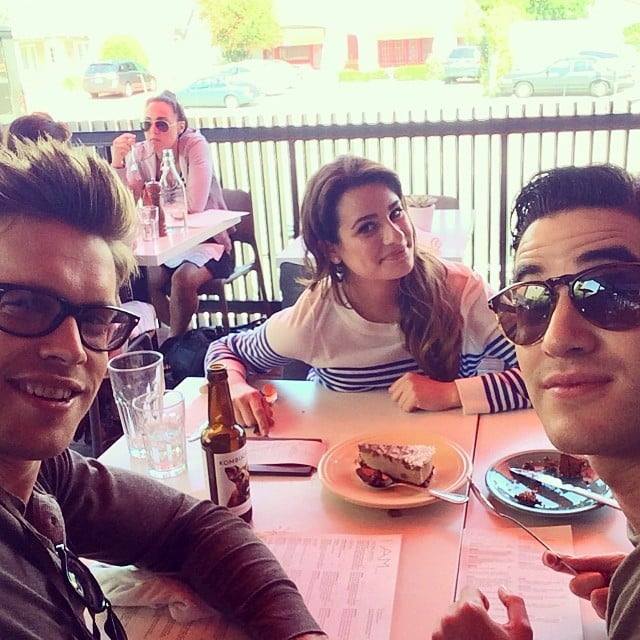 Lea Michele had a hangout session with costars Darren Criss and Chord Overstreet. Source: Instagram user msleamichele