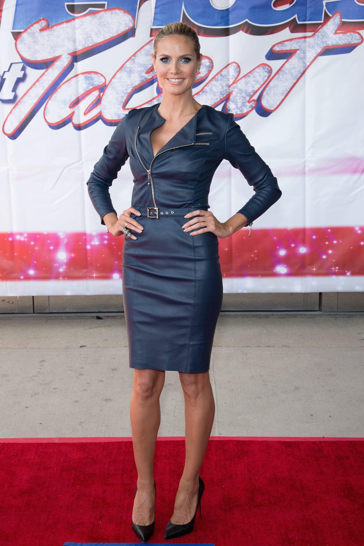 Heidi Klum in a Moto-Inspired Thomas Wylde Dress at a 2013 America's Got Talent Event
