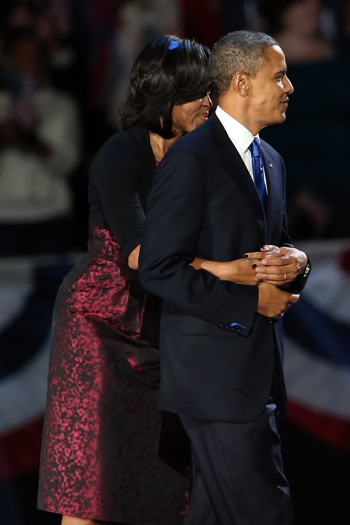 Barack Obama's reelection on Nov. 6 made for an historic night, and the image that will always stick in my mind from that evening is this candid shot of Michelle Obama putting her arms around her husband. The photographer really captured the first couple's modern romantic and political union in this simple, private moment. — Lindsay Miller, LA editor