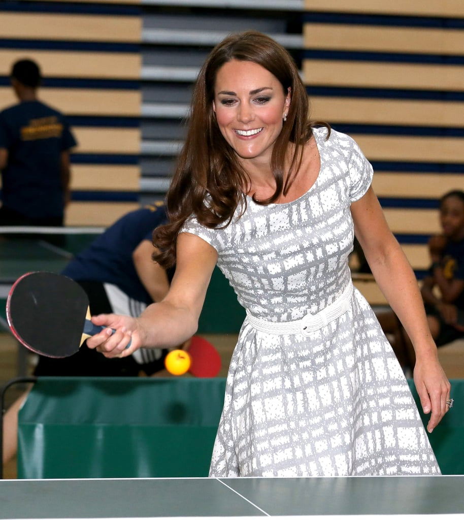 Kate Middleton played ping pong during a visit to Bacon's College in London on July 26.