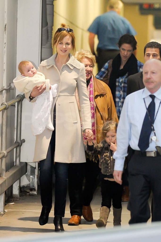 Nicole Kidman, Sunday, and Faith arrived in Australia.