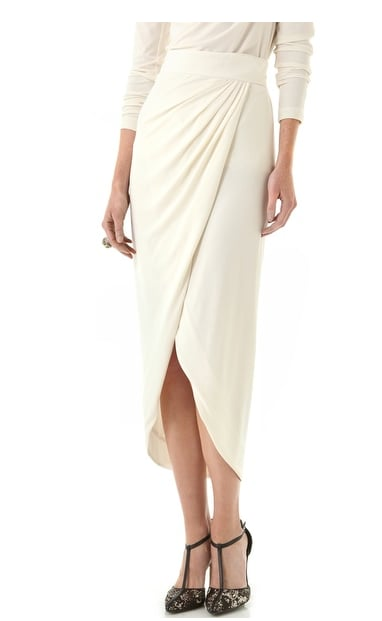 This gorgeous Rachel Zoe Abbey Wrap Maxi Skirt ($275) will be the feminine contrast to your slouchy knits. Just add tights and ankle boots to finish it off for anything from the office to cocktails.