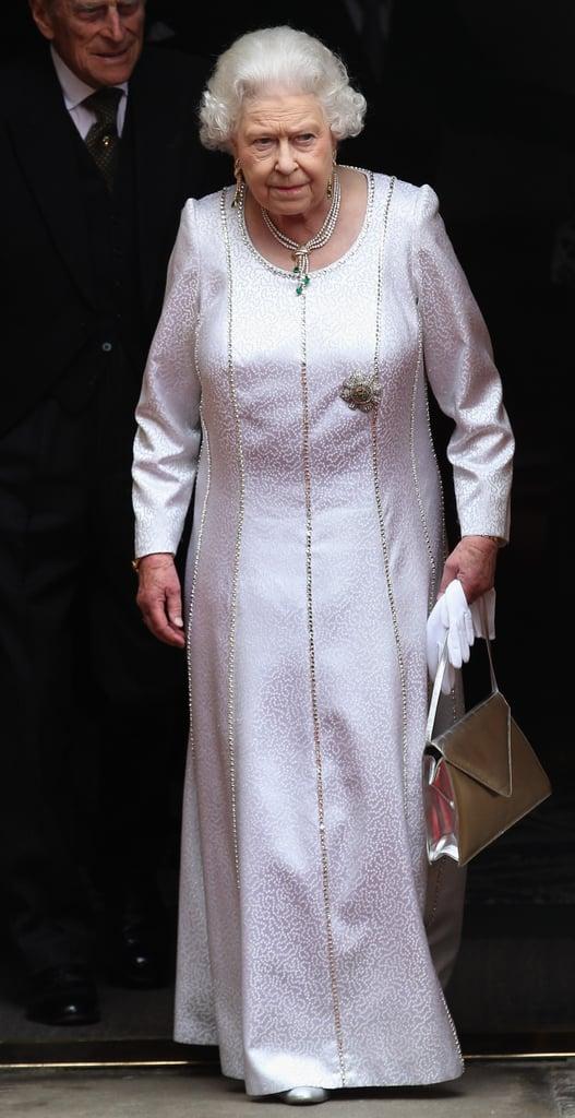 Queen Elizabeth wore a white gown to the Thistle Ceremony in Scotland.