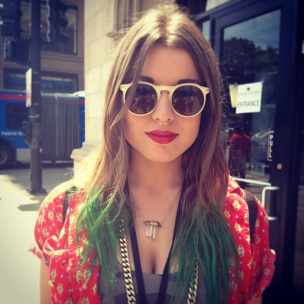 You couldn't walk far into the grounds of Lollapalooza without spotting bright hair color, but we think Allyson pulled off the look in a tasteful way with a classic red lip and a green dip dye.  Source: Instagram user POPSUGARBeauty