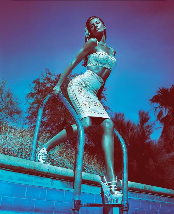 Gisele glams it up poolside for the Versace Spring 2012 ad campaign. Source: Fashion Gone Rogue