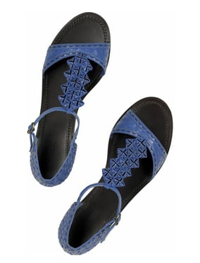 Guess Who Designed These Fabworthy Blue Leather Sandals?