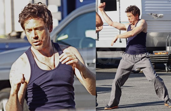 Photos of Robert Downey Jr. Doing Martial Arts In a Tank Top On The Set of Due Date