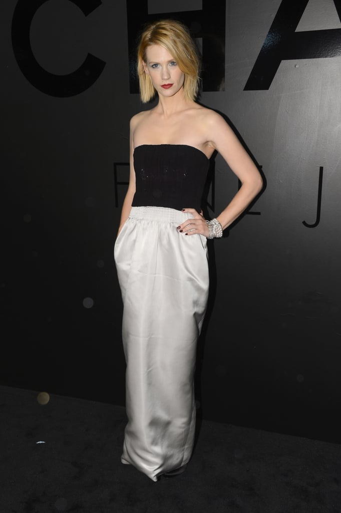 January Jones wore a black and white gown to celebrate Chanel.