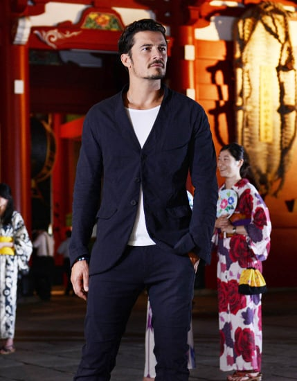 Orlando Bloom in Tokyo for British Airways promotional event as Seth Rogen talks about his penis