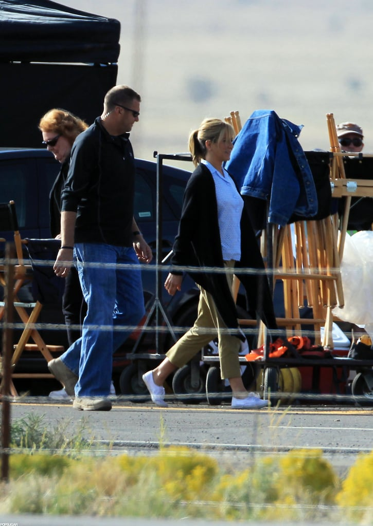 Jennifer Aniston strolled onto the set of We're the Millers in New Mexico.