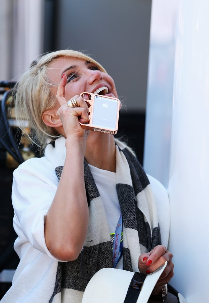 Cameron Diaz had her iPhone on hand while attending the Monaco Grand Prix on Saturday.