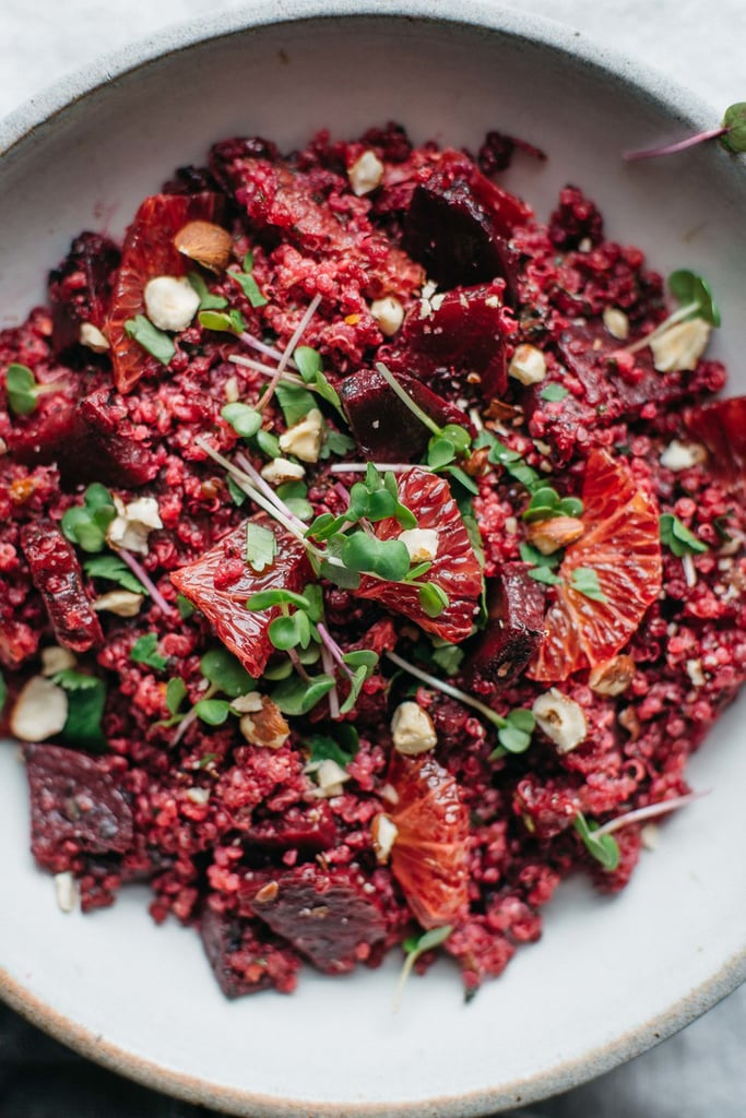 Pink Quinoa Salad With Beets, Blood Orange, and Chimichurri