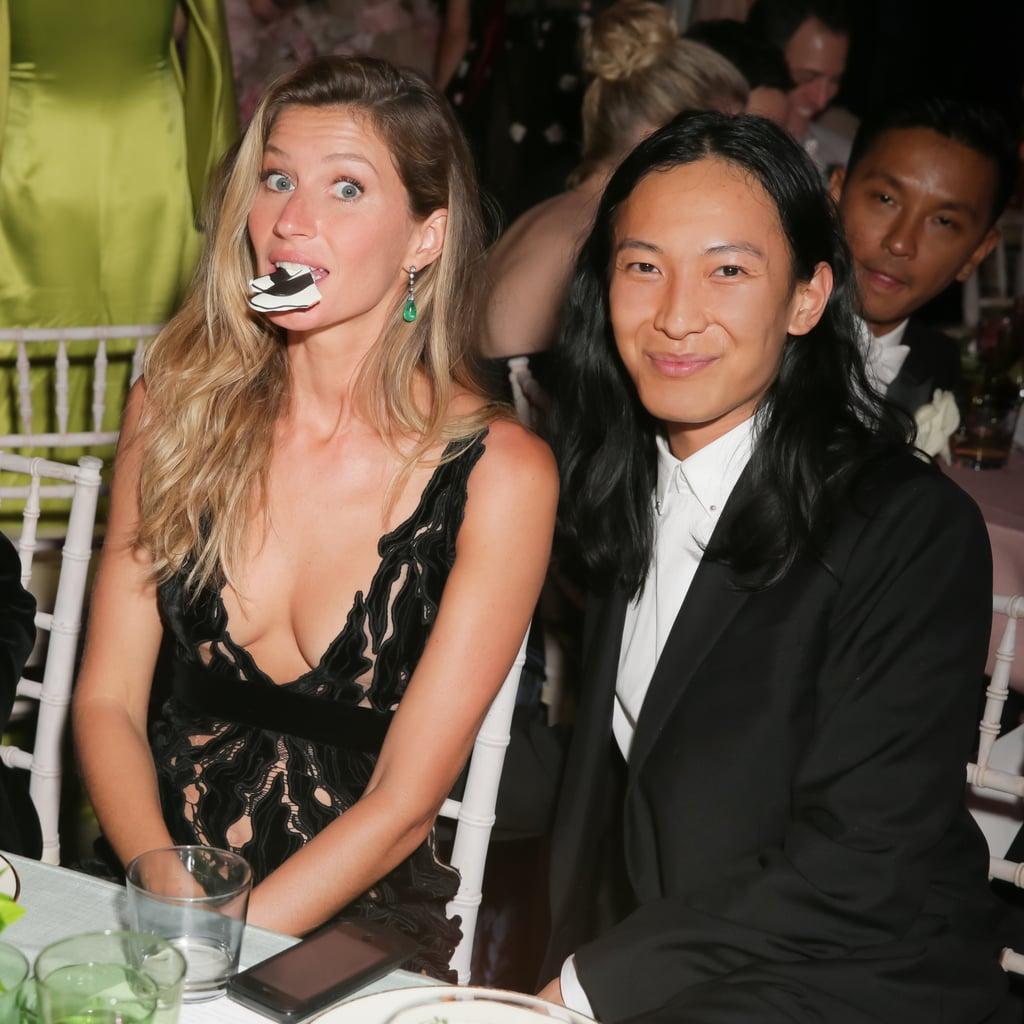 Gisele Bündchen got goofy with designer Alexander Wang during the dinner.