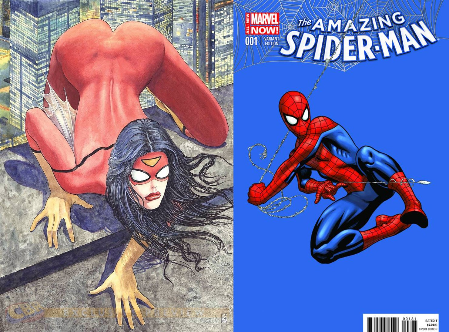 For the hell of it, let's compare this Spider-Woman cover to a current Spider-Man variant cover. Not.the.same.  Source: Marvel