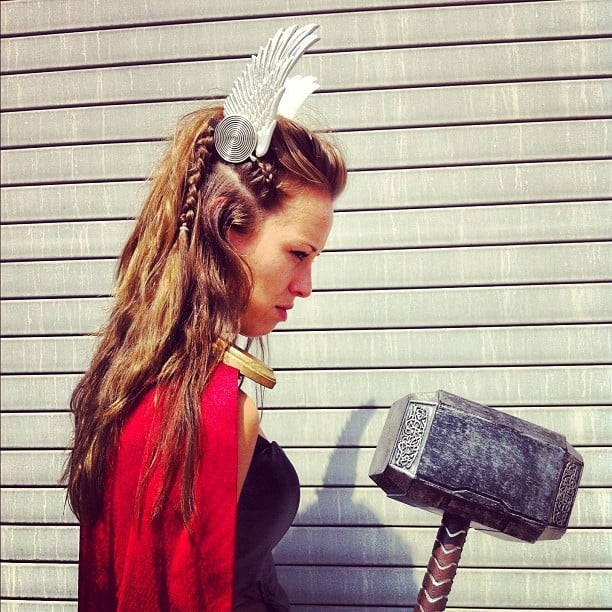 This is some crazy viking hair. Love that the crown is clipped right onto her braid.
