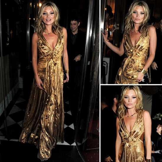 Kate Moss Wearing Gold Gown | Pictures