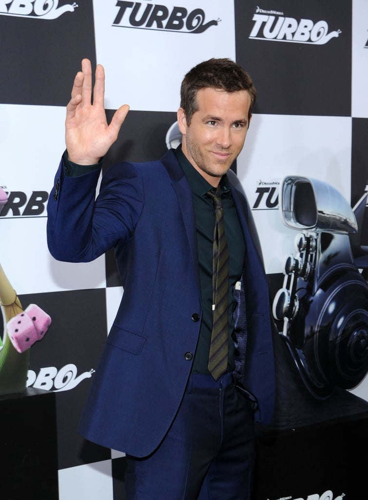 Ryan Reynolds gave a wave at the Tuesday-night Turbo premiere in NYC.