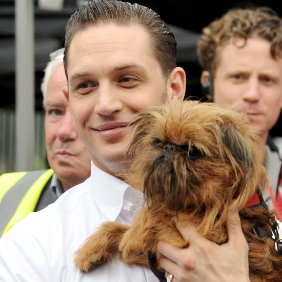 Tom Hardy With a Dog on the Set of Legend