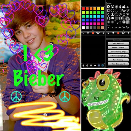 Scan your kids' coloring books into the Glow Coloring app so that they can color on the go. Fun features include 66 unique brushes, 36 colors, and a variety of brush patterns.