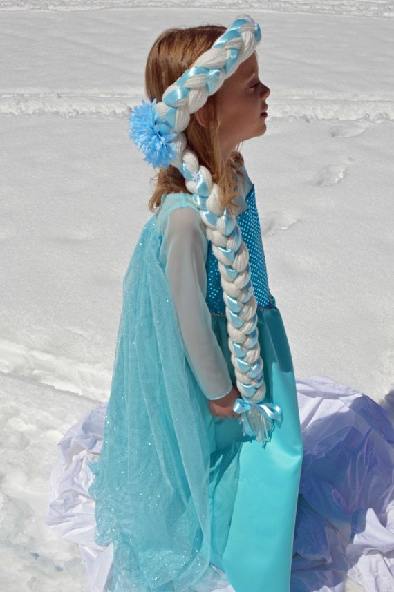 This beautiful handmade braided Elsa wig ($25) totally eliminates the need to struggle with your girl's Halloween hairdo.