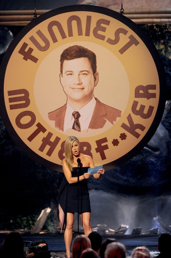 Jennifer Aniston introduced Jimmy Kimmel for an award.