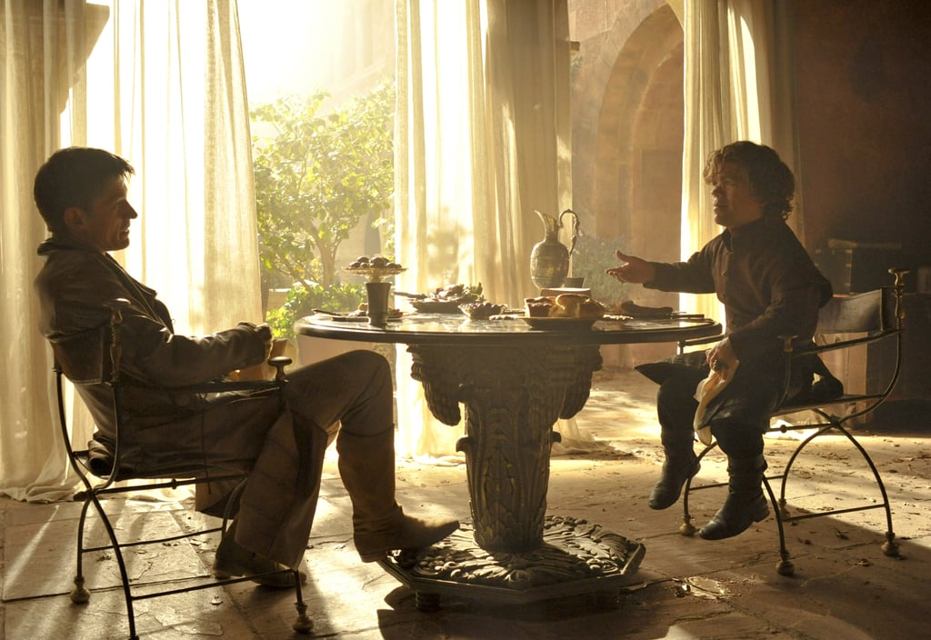Jaime and Tyrion confer.