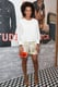 Solange Knowles paired her Edun shorts with a minimalist Theyskens' Theory blouse for a less-is-more approach to event dressing in LA.