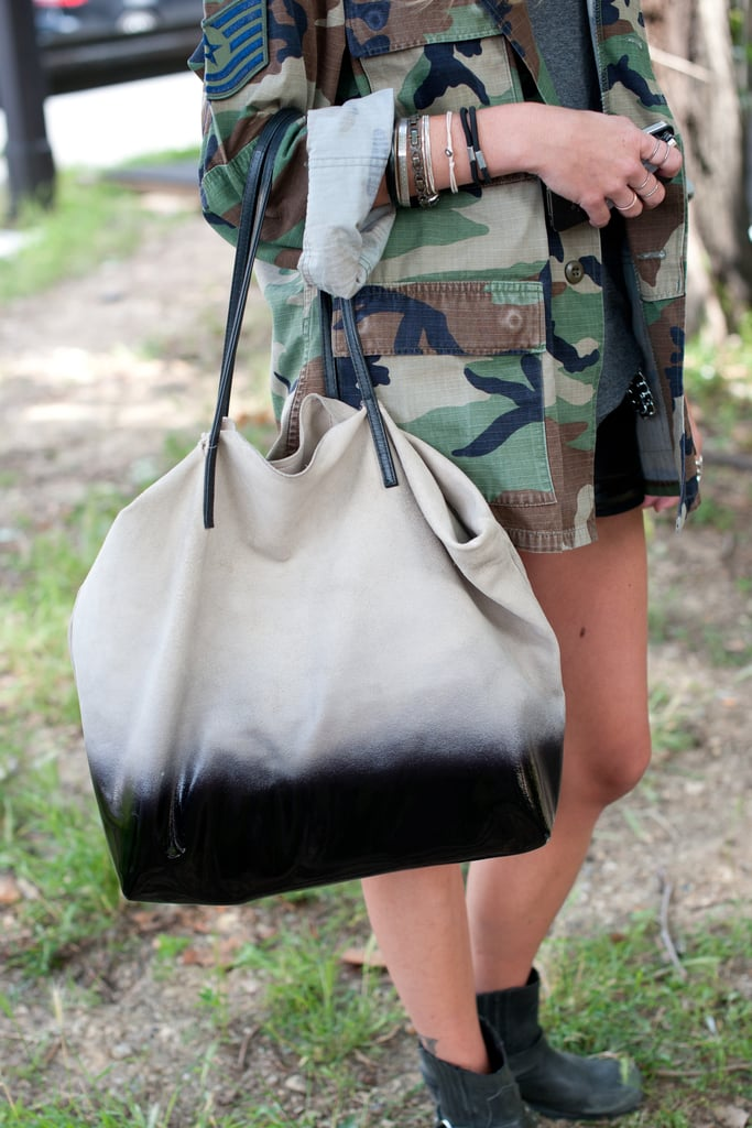 This ombre-effect Zara tote offset tough-girl camo with a chic vibe.