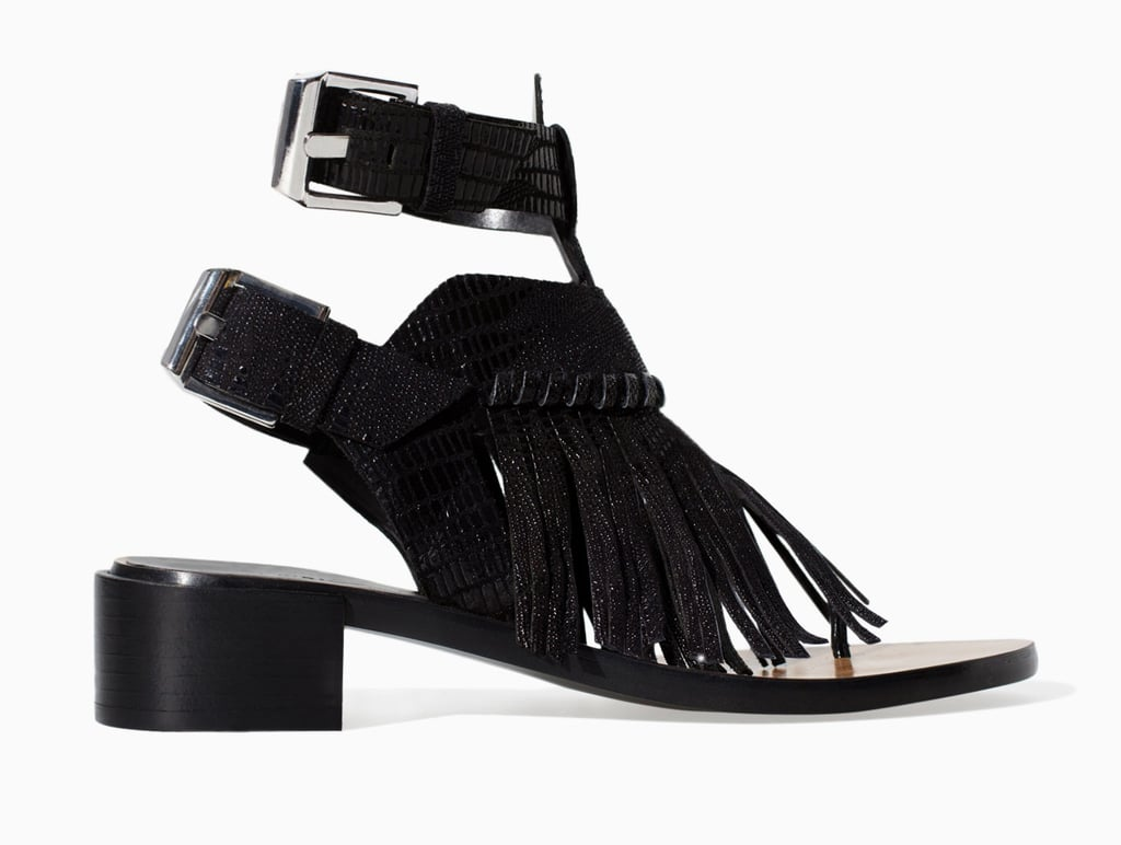 Zara black leather ankle-strap sandals with fringe ($100)