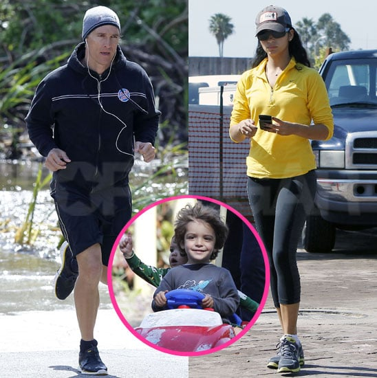 Pictures of Matthew McConaughey, Camila Alves, Levi, and Vida in Malibu