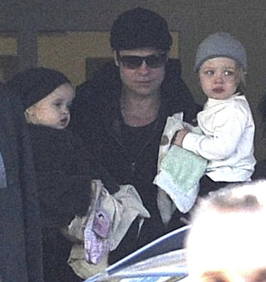 Pictures of Brad Pitt With Knox and Vivienne in Hungary