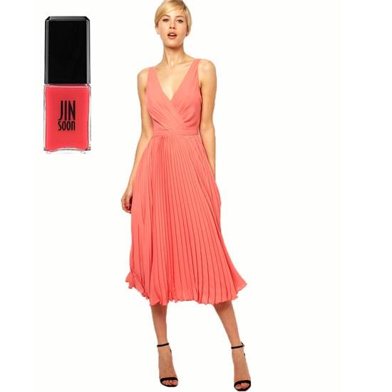 A fun, flirty dress like Mango Pleat and Wrap Midi Dress ($154) needs an equally vibrant shade. Try Jin Soon Coral Peony ($18).
