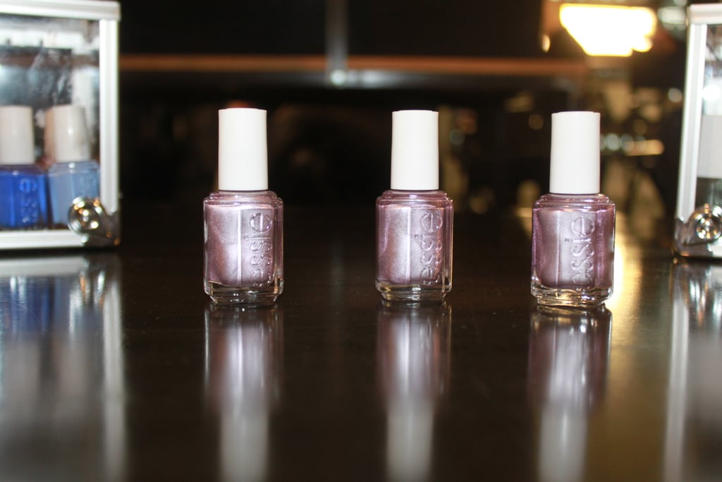 Michelle Saunders followed the natural shape of the models' nails before applying a color called Nothing Else Metals from the Essie Mirrored Metallics line. This purple shade has flecks of blues and magentas in it, just like the clothing in the collection.   Photos: Jamie Roy