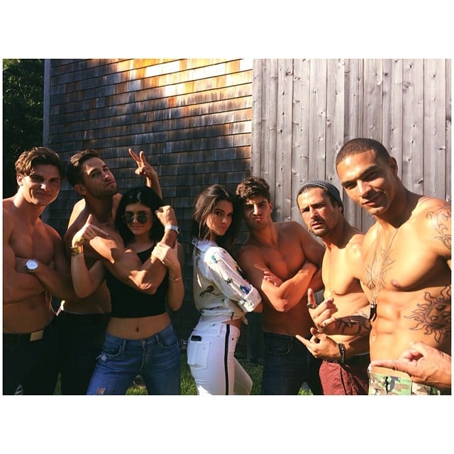 Kendall and Kylie Jenner posed with a bunch of shirtless hunks. Source: Instagram user kendalljenner