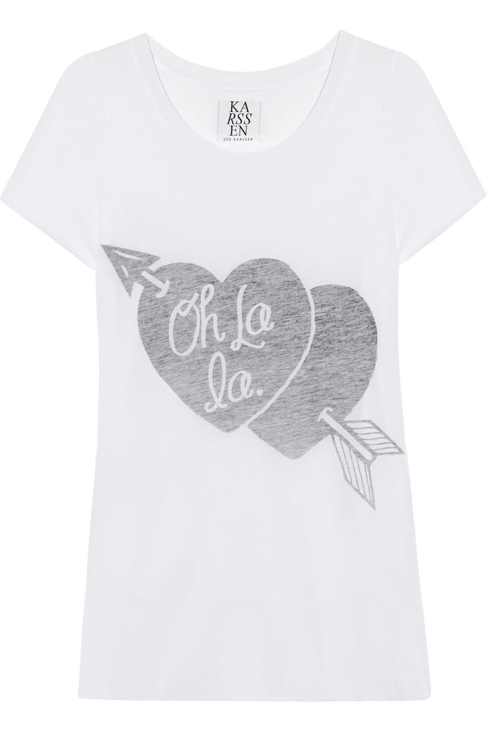 We love the juxtaposition of a low-key printed tee styled out with more sophisticated separates, like our tweedy jacket or white blazer.  Zoe Karssen Oh La La Cotton-Blend Jersey T-Shirt ($94)