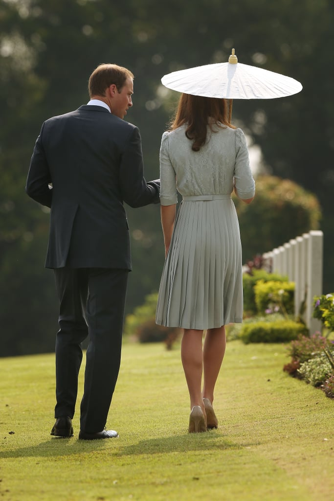 In 2012, Prince William and Kate walked together at a Word War II memorial in Singapore.