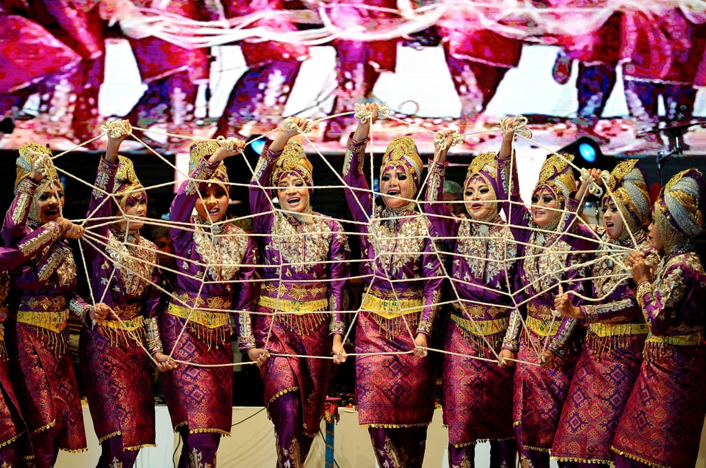 Dancers performed a traditional routine during a cultural festival in Indonesia.