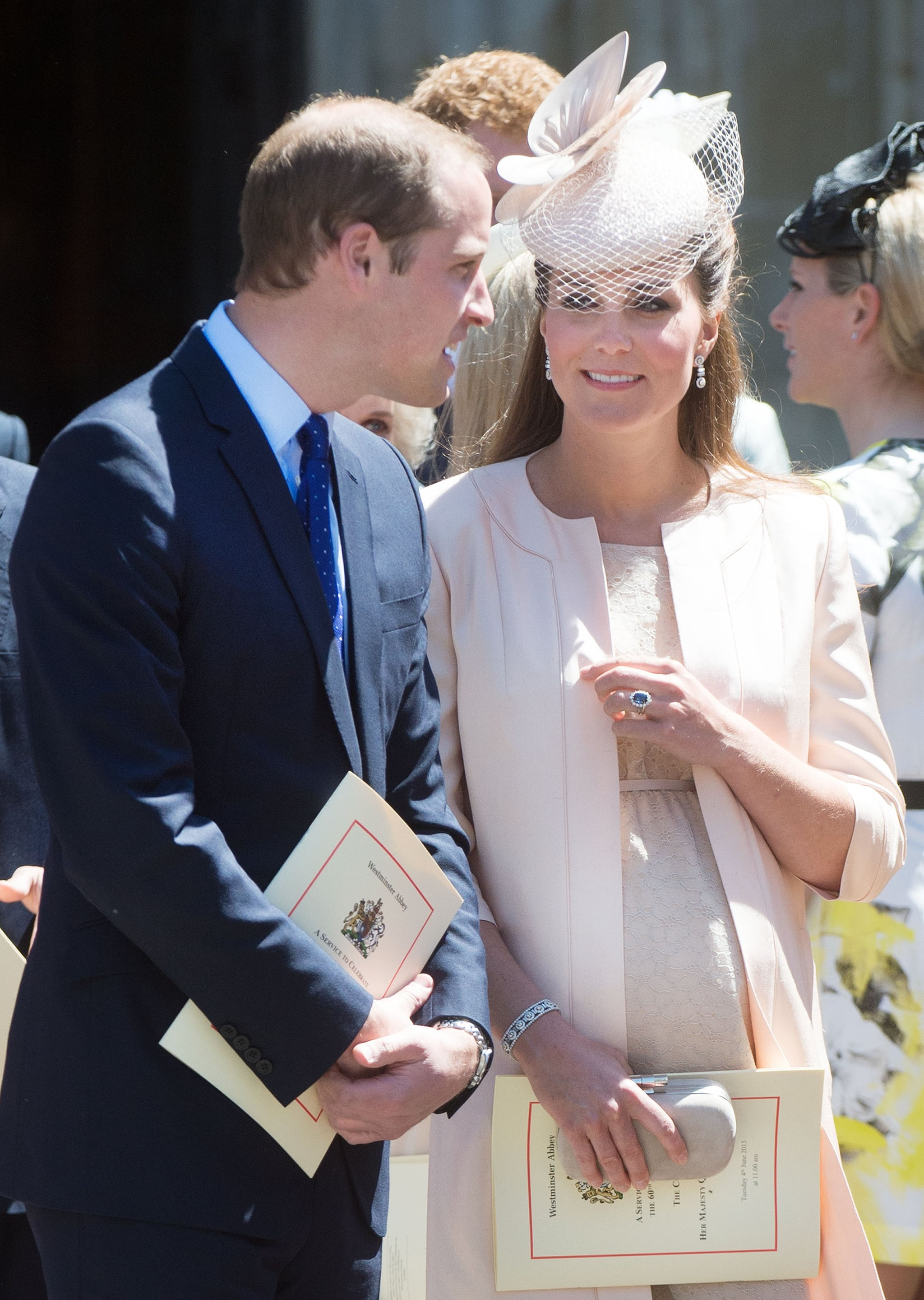 Kate looked fondly at William when the attended a church service for the Queen's 60th Coronation anniversary at Westminster Abbey in June 2013.