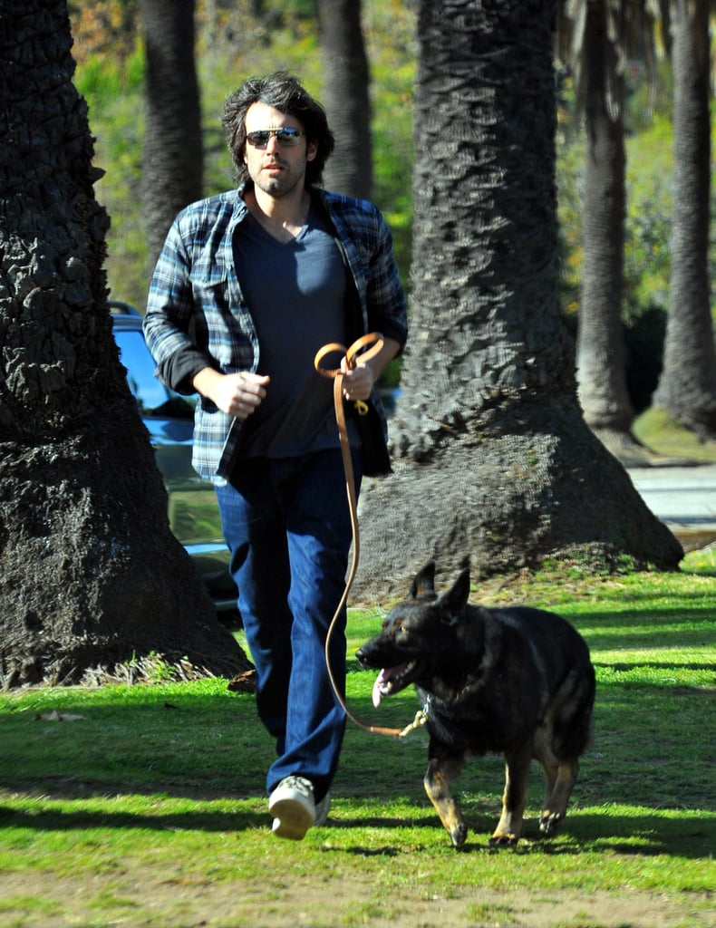Ben Affleck took his German Shepherd on a walk in LA's Brentwood neighborhood in January 2012.