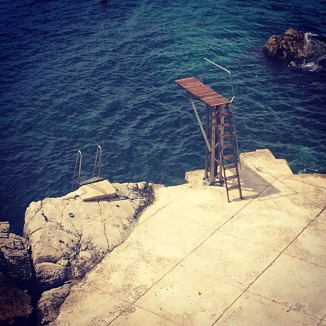 The Hotel du Cap, just outside Cannes, is the place where all the biggest stars stay during the festival. The picturesque views are one of the storied location's biggest draws; this diving board proved nearly impossible for us to resist!