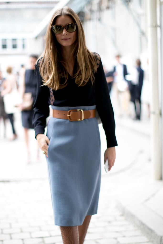 Olivia Palermo perfected the classics in a powder blue skirt and a button-down.