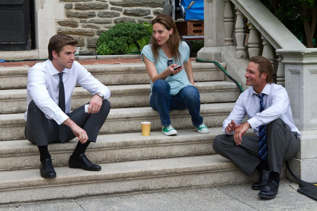 Liam Hemsworth on the set with producer Alexandra Milchan and Josh Holloway.