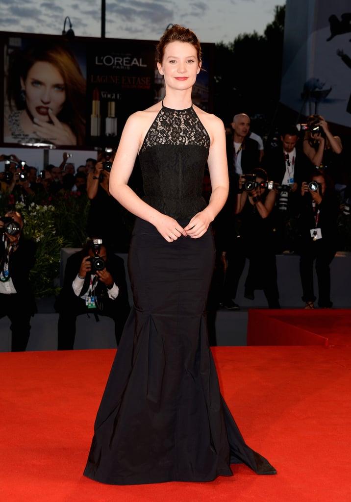 Also in Venice, Mia Wasikowska dazzled in a Nina Ricci Resort 2014 gown.