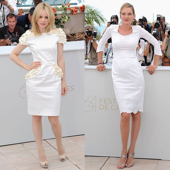 Pictures of Rachel McAdams in White Maxime Simoens Dress at Cannes Film Festival
