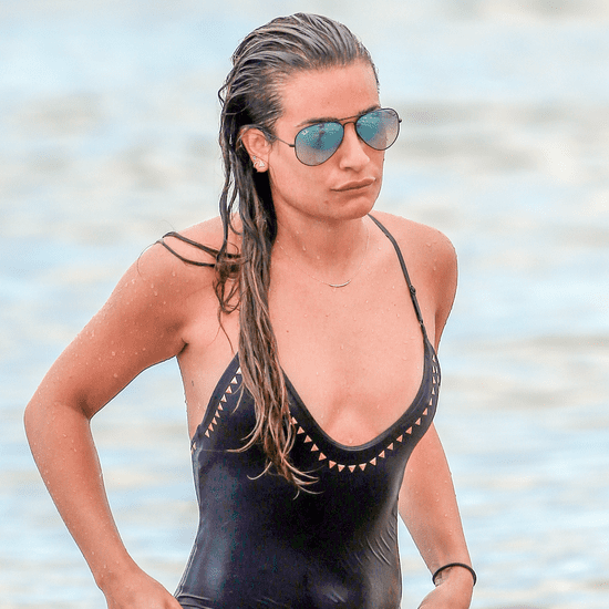 Lea Michele Black One Piece Swimsuit Memorial Day 2016