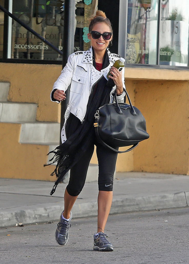 Nicole Richie bundled up with a scarf.