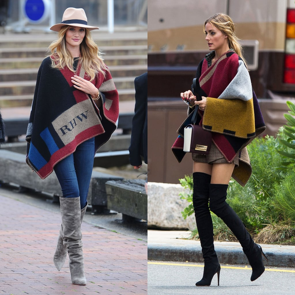 There's something to note about Rosie's ensemble that it shares with Olivia Palermo's — both style stars sported their ponchos with knee-high boots. Never mind the fact that these two ladies are total tastemakers; the outfit proportions really work. That's because an oversize silhouette up top totally benefits from sleek separates down below.  We're especially drawn to the way Rosie works with a more casual foundation — from medium-wash skinnies to a standard, neutral fedora. You see, we're deeming ponchos the most unexpectedly chic piece for Fall — they're totally comfortable but roomy enough for a whole lot more style than you'd ever expect.